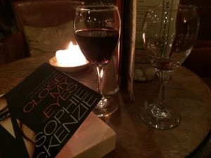 Wine, book, candlelight + enough light to read by...perfect.