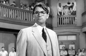 Gregory Peck as Atticus surveys the state of his case.